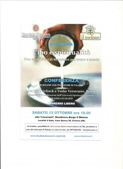 """Conferenza """"Cibo e spiritualità"""" a Cortona"""