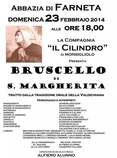 """Locandina del """"Bruscello di Santa Margherita"""" all'Abbazia di Farneta."""