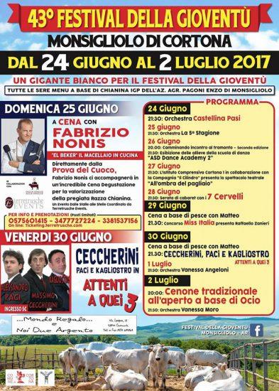 Festival della Gioventù a Monsigliolo di Cortona, edizione 2017